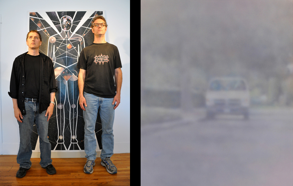 "Left: Brad Spence and Keith Walsh in front of Astral Body Compound Space/Threshold of Movement; Right: Brad Spence's painting, ""Van"" 2010"